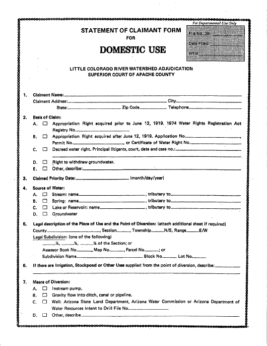 Statement of Claimant Form for Domestic Use - Little Colorado River Watershed Adjudication - Apache County, Arizona Download Pdf