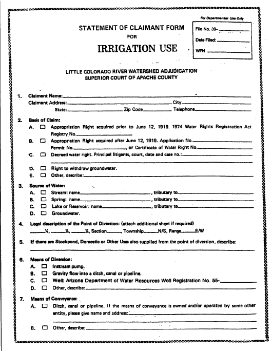 Statement of Claimant Form for Irrigation Use - Little Colorado River Watershed Adjudication - Apache County, Arizona Download Pdf