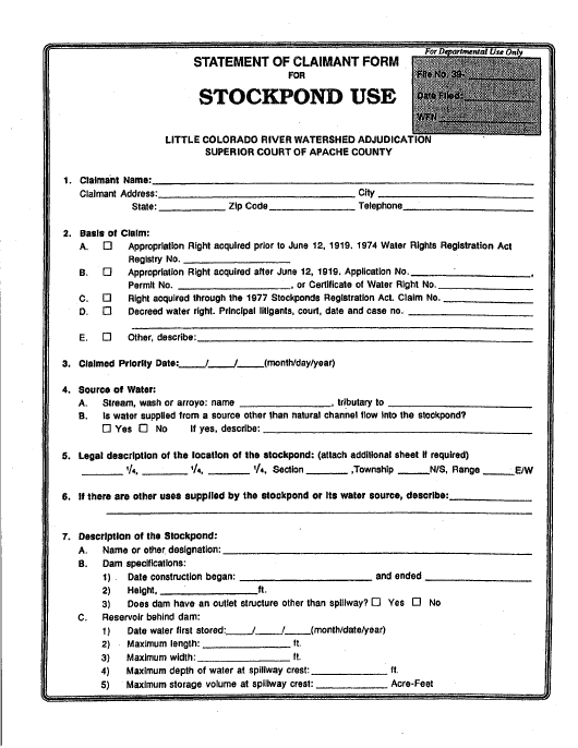 Statement of Claimant Form for Stockpond Use - Little Colorado River Watershed Adjudication - Apache County, Arizona Download Pdf