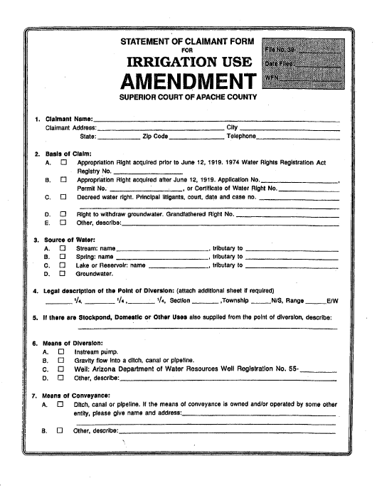 """Statement of Claimant Form for Irrigation Use Amendment"" - Apache County, Arizona Download Pdf"