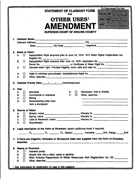 """""""Statement of Claimant Form for Other Uses Amendment"""" - Apache County, Arizona Download Pdf"""