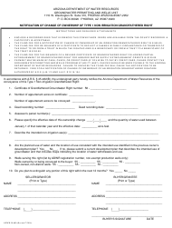 Form ADWR 58-600 Notification of Change of Ownership of Type 1 Non Irrigation Grandfathered Right - Arizona