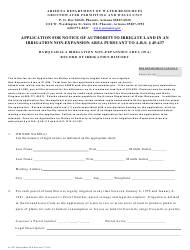Form 45-437 Application for Notice of Authorityto Irrigate Land in an Irrigation Non-expansion Area Pursuant to a.r.s. 45-437 - Harquahala Irrigation Non-expansion Area (Ina) Record of Irrigation History - Arizona