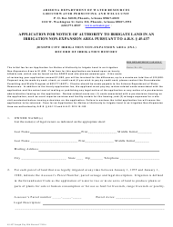 "Form 45-437 ""Application for Notice of Authority to Irrigate Land in an Irrigation Non-expansion Area Pursuant to a.r.s. 45-437 - Joseph City Irrigation Non-expansion Area (Ina) Record of Irrigation History"" - Arizona"