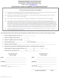 "Form ADWR60-500 ""Notification of Change of Ownership of an Irrigation Authority"" - Arizona"