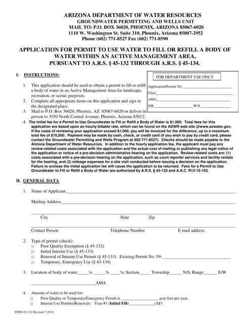 Form DWR45-132 Printable Pdf