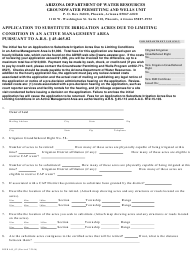 Form DWR 465_02 Application to Substitute Irrigation Acres Due to Limiting Condition in an Active Management Area Pursuant to a.r.s. 45-465.02 - Arizona