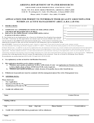 "Form 45-516 ""Application for Permit to Withdraw Poor Quality Groundwater Within an Active Management Area"" - Arizona"