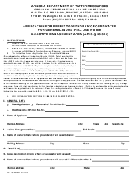 Form 515 Application for Permit to Withdraw Groundwater for General Industrial Use Within an Active Management Area - Arizona