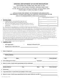 "Form 514 ""Application for Permit to Withdraw Groundwater for Mineral Extraction & Metallurgical Processing Within an Active Management Area"" - Arizona"