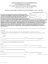 Form 1041 Application for Water Exchange Permit - Arizona