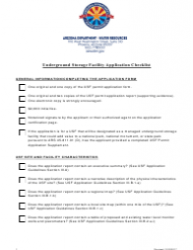 Underground Storage Facility Application Checklist - Arizona