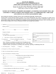 Form DWR 55-41 Notice of Intention to Deepen or Modify an Existing Non-exempt Well or Construct a Replacement Non-exempt Well at Approximately the Same Location in an Active Management Area - Arizona