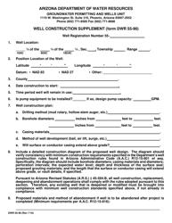 Form DWR 55-90 Well Construction Supplement - Arizona