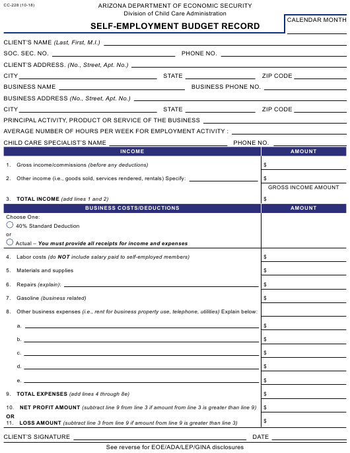Form Cc 228 Download Printable Pdf Self Employment Budget