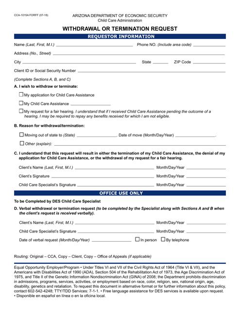 Form CCA-1015A FORFF  Printable Pdf