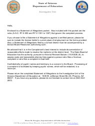 Statement of Allegations Packet - Arizona
