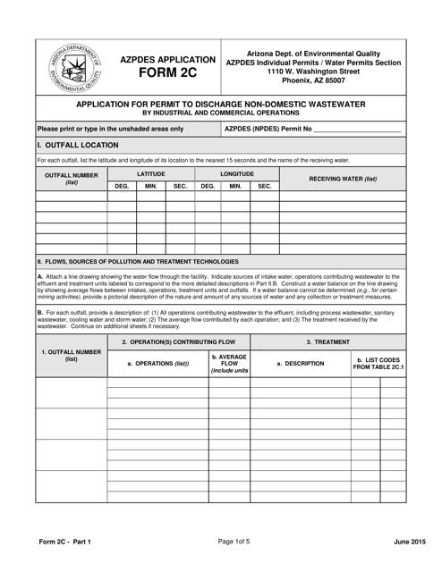 ADEQ Form 2C  Printable Pdf