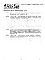 Instructions for Form 1 - Arizona Pollutant Discharge Elimination System Permit Application