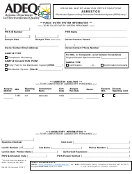 "ADEQ Form DWAR2B ""Drinking Water Analysis Reporting Form - Asbestos"" - Arizona"