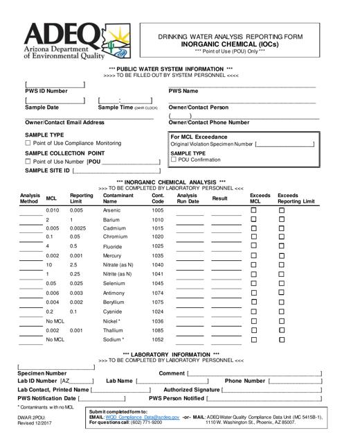 ADEQ Form DWAR2POU  Printable Pdf