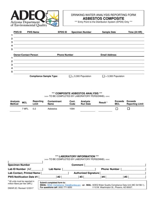 ADEQ Form DWAR2C  Printable Pdf