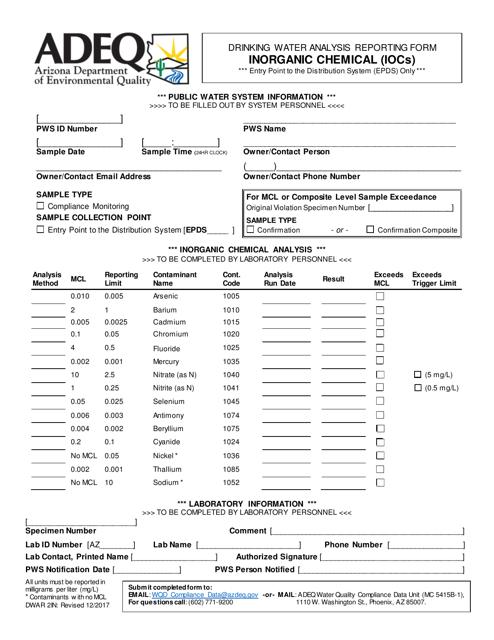ADEQ Form DWAR2IN  Printable Pdf