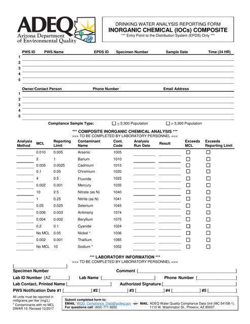 ADEQ Form DWAR10  Printable Pdf