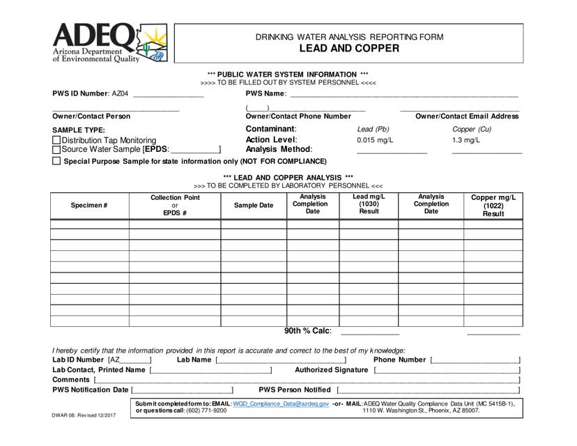 ADEQ Form DWAR08  Printable Pdf
