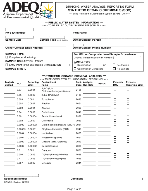 ADEQ Form DWAR3  Printable Pdf