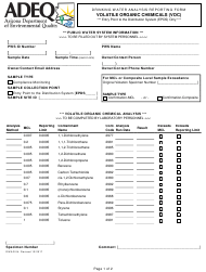 "ADEQ Form DWAR04 ""Drinking Water Analysis Reporting Form - Volatile Organic Chemicals (Voc)"" - Arizona"