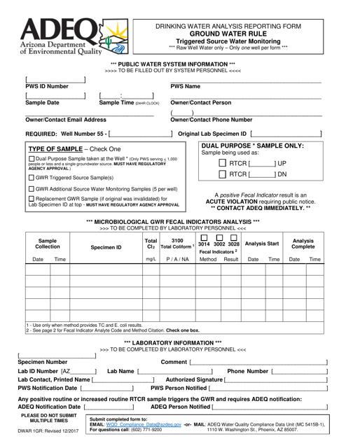 ADEQ Form DWAR1GR  Printable Pdf