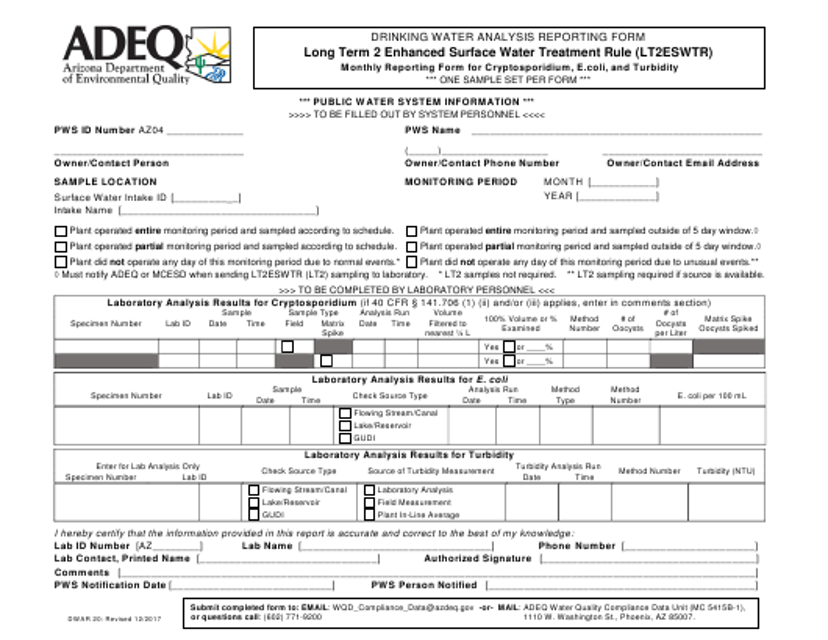 ADEQ Form DWAR20  Printable Pdf