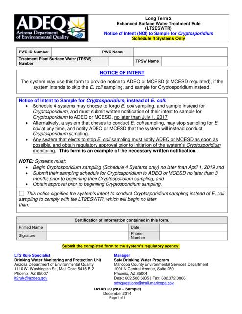 ADEQ Form DWAR20 (NOI - SAMPLE)  Printable Pdf