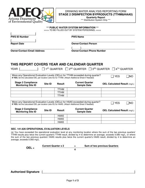 ADEQ Form DWAR33  Printable Pdf