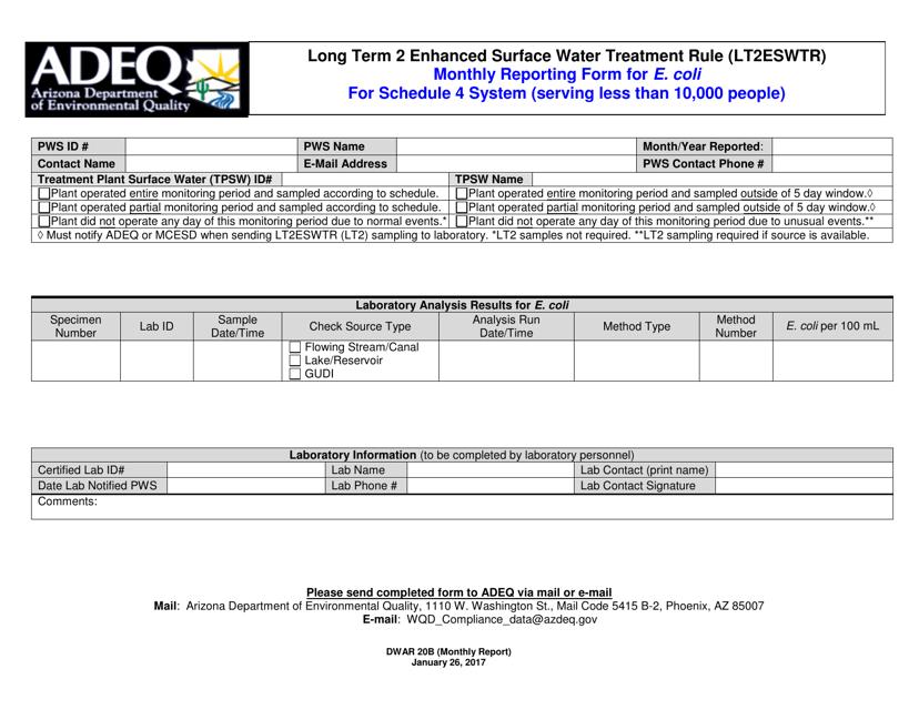 ADEQ Form DWAR20B  Printable Pdf
