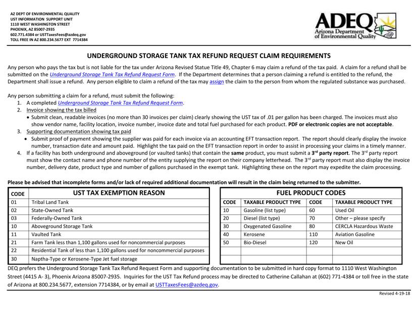 """""""Underground Storage Tank Tax Refund Request Form"""" - Arizona Download Pdf"""