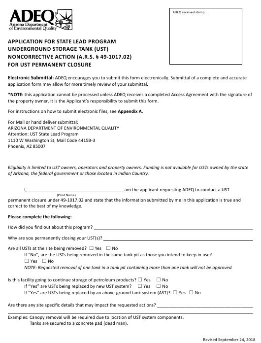 """""""Application Form for State Lead Program - Noncorrective Action for Ust Permanent Closure"""" - Arizona Download Pdf"""