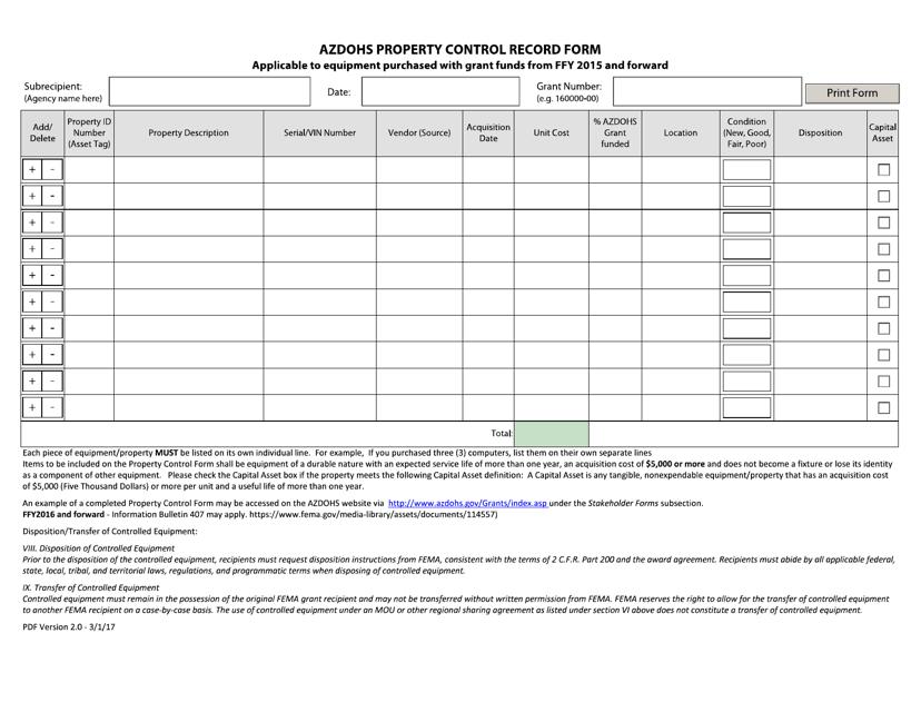 """Property Control Record Form"" - Arizona Download Pdf"