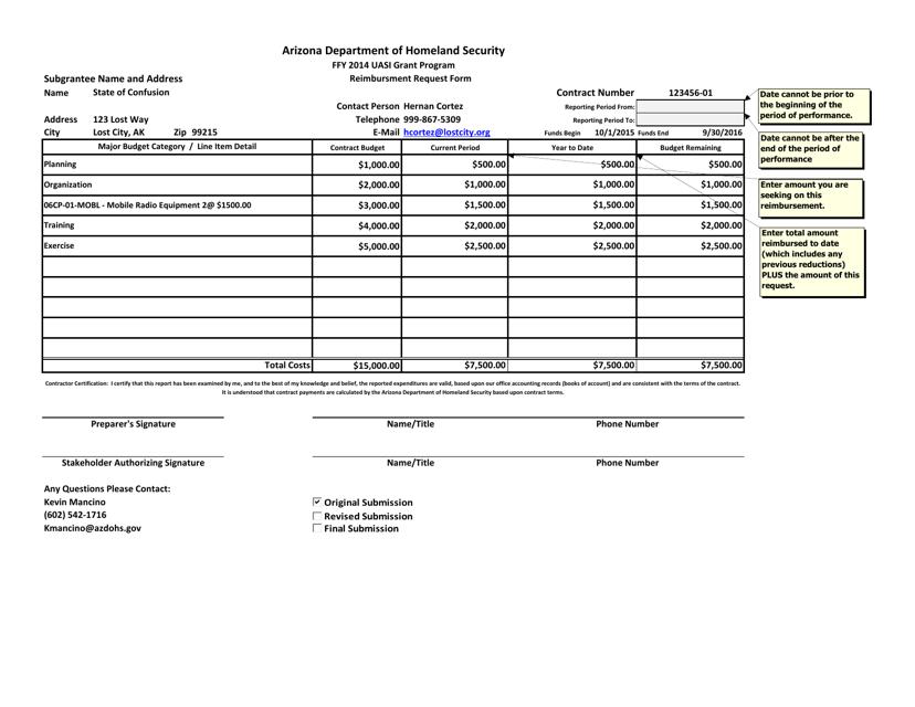 "Sample ""Reimbursment Request Form - Uasi Grant Program"" - Arizona Download Pdf"