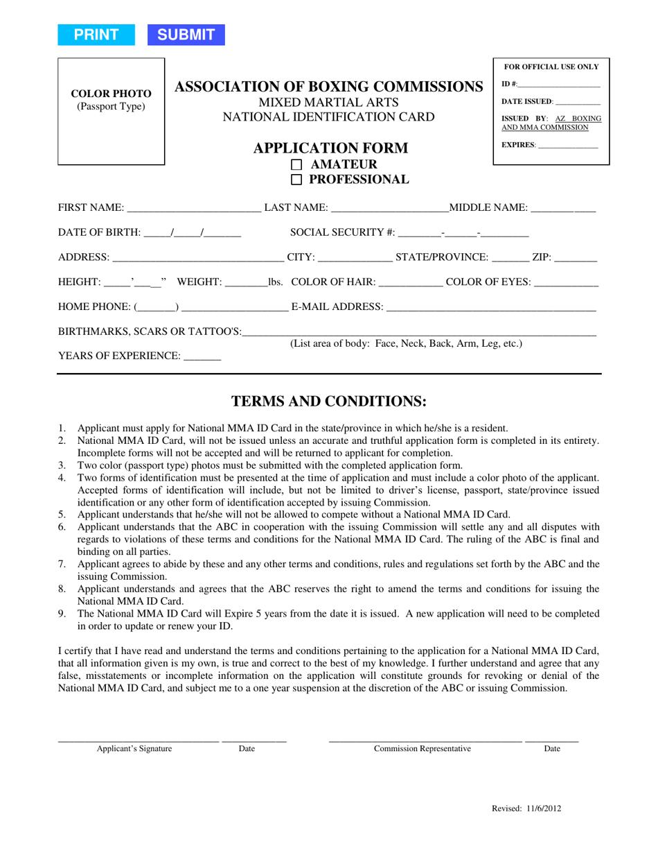Arizona Mma National Identification Card Application Form ...