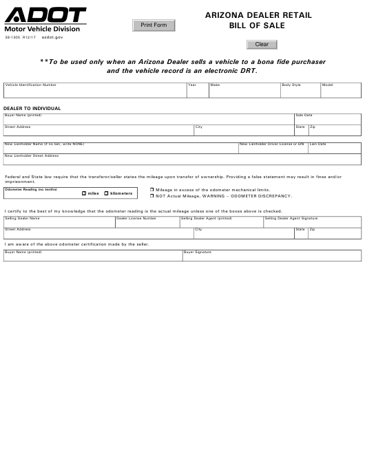 Form 38 1305 Download Fillable Pdf Arizona Dealer Retail