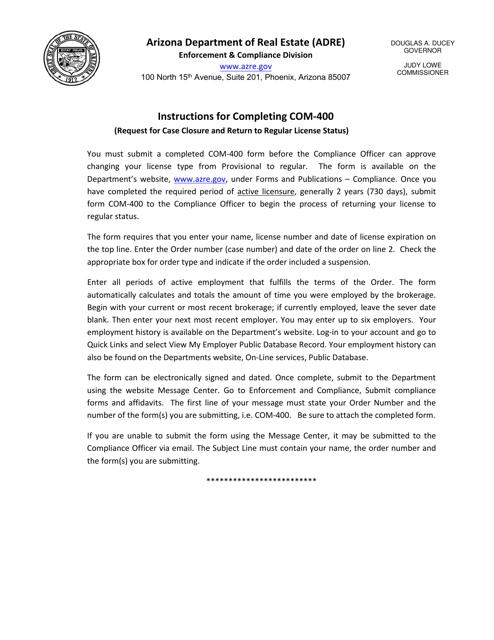 Form COM-400 Download Fillable PDF, Compliance - Case Closure