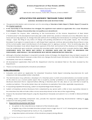 "Instructions for Form Y ""Application for Amended Timeshare Public Report"" - Arizona"