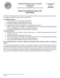 "Instructions for Form LI-220 ""Broker to Salesperson"" - Arizona"