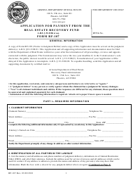 """Form RF-107 """"Application for Payment From the Arizona Real Estate Recovery Fund"""" - Arizona"""