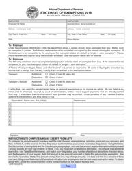 "Form ADOR10834 ""Statement of Exemptions"" - Arizona, 2018"