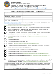"""Form L-152 """"Licensing Eligibility Requirement"""" - Arizona"""