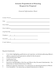Request for Proposal - General Information Sheet - Arizona