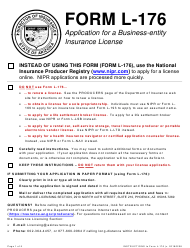 """Form L-176 """"Application for a Business-Entity Insurance License"""" - Arizona"""